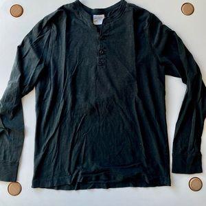J Crew Long Sleeve Washed Black Henley